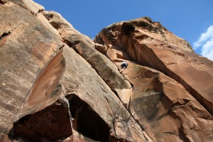 Rock climbing at Milk Creek again: Kristine on the awesome 5.9 layback