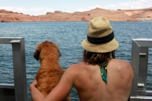 Rainie & Kristine at Lake Powell in August 2009