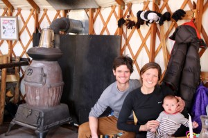 Love the big wood stove inside the yurt behind us