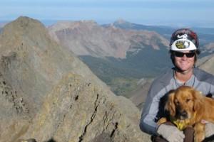 Me & Rainier on the summit of Mt. Wilson with El Diente behind (September 2007)