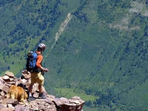 Rainie & I descending from Pyramid Peak's summit