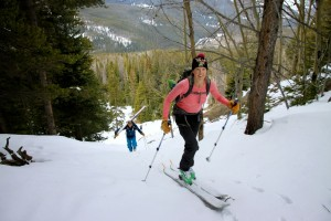 Kristine showing Joel & I up by keeping her skins/skis on
