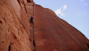 Mikey giving Willy's Hand Jive (5.10) a solid lead attempt on Friday evening after a day of climbing