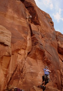 "Mikey getting an ""assisted"" belay by Shawn in attempt to inch Jesse up the crack"