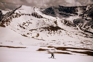 J approaching the summit ridge. 14ers Mt. Democrat, Quandary Peak, & Mt. Lincoln (left to right) can be seen behind