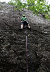 Me leading away on the 1st pitch of Charlotte's Crack