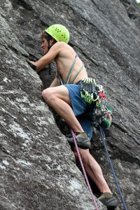 Me beginning the lead of the upper pitch of Charlotte's Crack