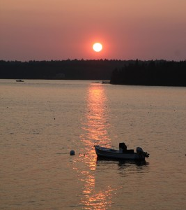 Kristine took these gorgeous sunset pics looking over Ken & Dianne's motorboat and the St. George River