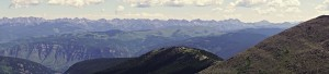 A cool summit panoramic of Vail's back bowls and the Gore Range by Shawn Wright. Click to enlarge