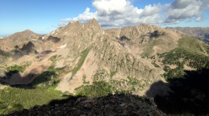 View of the Silverthorne massif as seen from the East East Red summit (12,885')