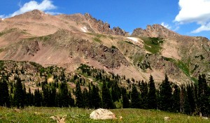 Red Diamond Ridge as seen from the meadows  east of Red Buffalo Pass