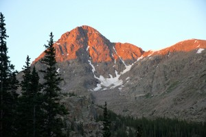 First light on Holy Cross descending to East Cross Creek from Halfmoon Pass
