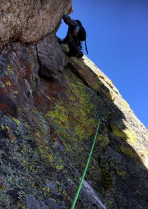 Me leading the 5.4-5.5 dihedral halfway through the traverse