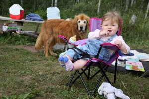 Hanging in her camp chair with Rainie