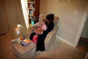 Mom reading to Sawyer