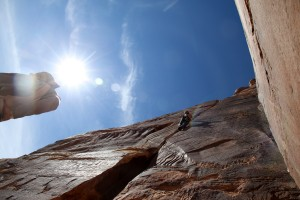 Me leading 100' Hands (5.10b) on a gorgeous sunny day