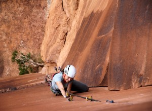 Natalie cleaning the route