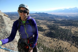 Kristine at the top of the Carter Classic route on the Davis Face