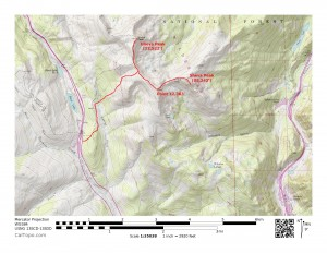 A map of our snowshoe jaunt. About 5 hours roundtrip, maybe 8-9 mile and roughly 3,000' vertical gain
