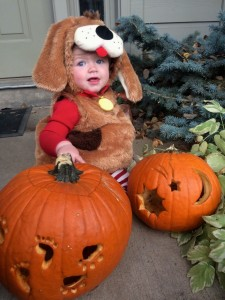 Sawyer in her dog costume that Dianne & Ken gave her