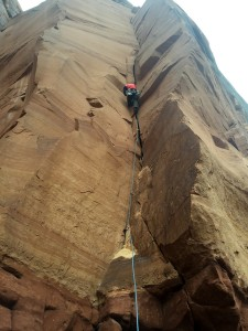 Me leading the 1st pitch of Dewar Dihedral (5.10), a new route I had not climbed on the Monolith Spire