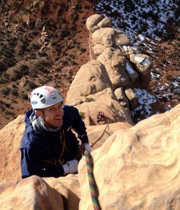 Its then just a short belay away from the true summit cap. Mikey took this pic of Steve and me way down below