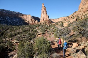 Hiking the 2 miles into Independence Monument