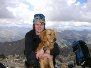 A much younger me and Rainie on the summit of La Plata Peak