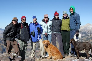 Left to right: Me, Chris Danforth, Ken Oelberger, Kristine, Kate Danforth, Carrie Oelberger, Thomas Oelberger, Rainier, & Kona on the summit of Ajax Peak on October 1, 2009 - two days before our wedding at Gorrono Ranch on the telluride Ski Mtn