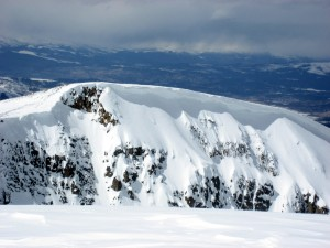 The massive cornice along the northeast ridge as seen from the summit