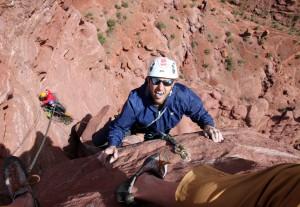 Steve climbing pitch 3