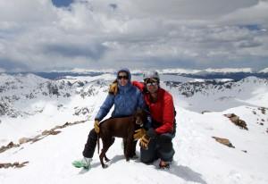 Me, Kristine, & Kona on Quandary's summit (14,265')