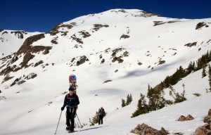 Reaching Eccles Pass (11,900') with Deming's east face behind