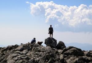 J on top of the summit block of Pauite