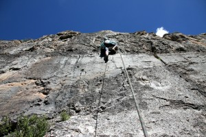 Kristine climbing Old School (5.9)