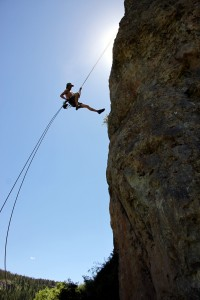 Me rappelling off of Born on the Fourth (5.10a)