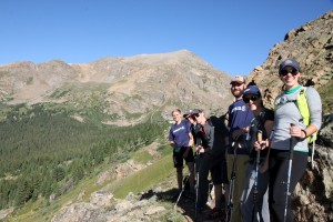 Left to right: Dylan, Joel, Seth, Tim, Lauran, Britta with Mt. Oklahoma behind