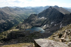 Beautiful high alpine lakes and rugged peaks looking east in the Holy Cross Wilderness