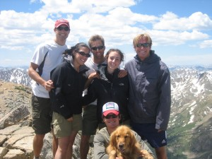 Mt Massive Summit (6-30-07). Left to right: Derek, Devon, J, Megan, Mikey J, with Rainier & myself kneeling