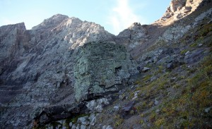 The steep slopes leading up to Pyramid's NW ridge