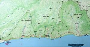 The Kalalau Trail map along the Napali Coast