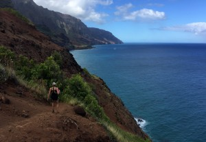 Kristine and a view. Kalalau Beach is still a good 5-6 miles out
