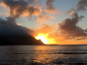 Sunset over Hanalei Bay from the St. Regis