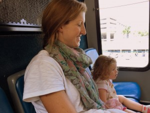 Sawyer loving her bus ride at LAX