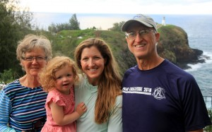 Good family pic with the Kilauea Lighthouse behind