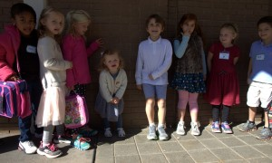 Sawyer was so excited to be with the big kids that she lined up with the kindergarten class