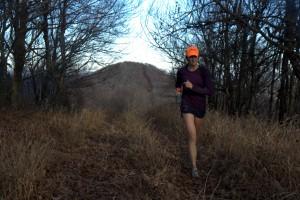Kristine running the road on Bullhead