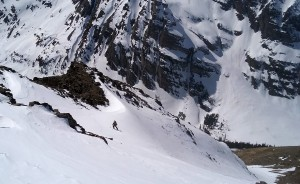 J skiing the upper west couloir. Photo by Natalie