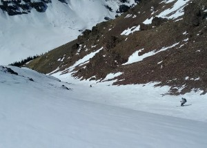 Dylan and J skiing the upper west couloir. Photo by Natalie