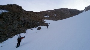 Beginning the long ascent up the west couloir. Photo by Natalie